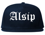 Alsip Illinois IL Old English Mens Snapback Hat Navy Blue