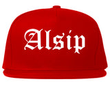 Alsip Illinois IL Old English Mens Snapback Hat Red