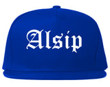 Alsip Illinois IL Old English Mens Snapback Hat Royal Blue