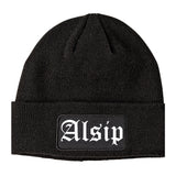 Alsip Illinois IL Old English Mens Knit Beanie Hat Cap Black