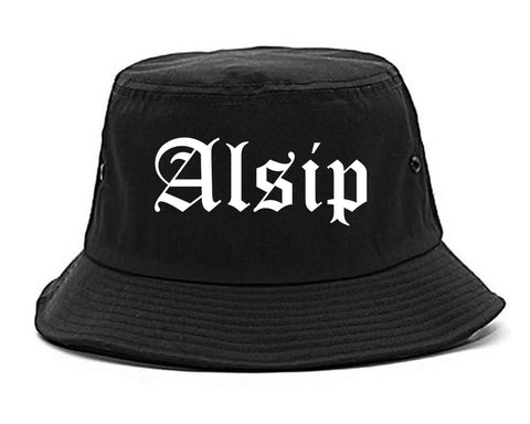 Alsip Illinois IL Old English Mens Bucket Hat Black