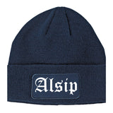 Alsip Illinois IL Old English Mens Knit Beanie Hat Cap Navy Blue