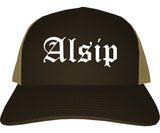 Alsip Illinois IL Old English Mens Trucker Hat Cap Brown