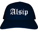 Alsip Illinois IL Old English Mens Trucker Hat Cap Navy Blue