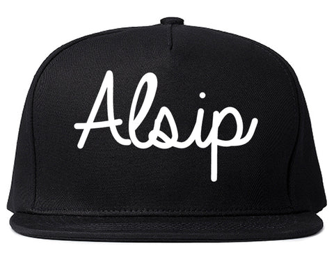 Alsip Illinois IL Script Mens Snapback Hat Black