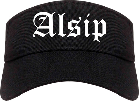Alsip Illinois IL Old English Mens Visor Cap Hat Black