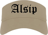 Alsip Illinois IL Old English Mens Visor Cap Hat Khaki