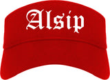 Alsip Illinois IL Old English Mens Visor Cap Hat Red
