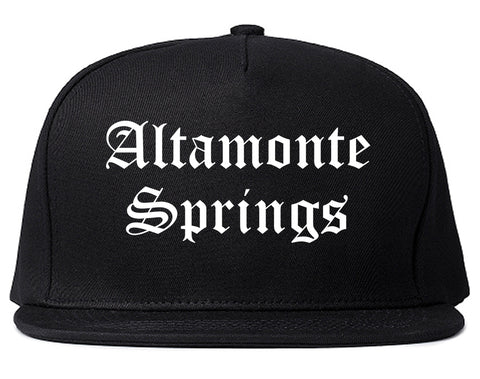 Altamonte Springs Florida FL Old English Mens Snapback Hat Black