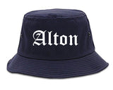 Alton Illinois IL Old English Mens Bucket Hat Navy Blue