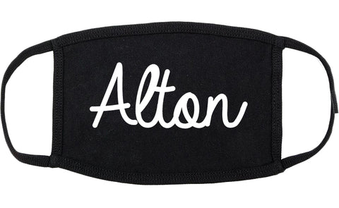 Alton Illinois IL Script Cotton Face Mask Black