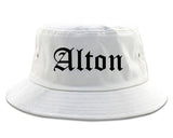 Alton Illinois IL Old English Mens Bucket Hat White