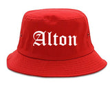 Alton Texas TX Old English Mens Bucket Hat Red