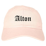 Alton Texas TX Old English Mens Dad Hat Baseball Cap Pink