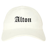 Alton Texas TX Old English Mens Dad Hat Baseball Cap White