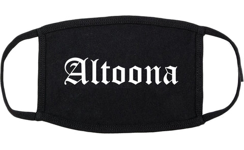Altoona Iowa IA Old English Cotton Face Mask Black
