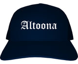 Altoona Iowa IA Old English Mens Trucker Hat Cap Navy Blue