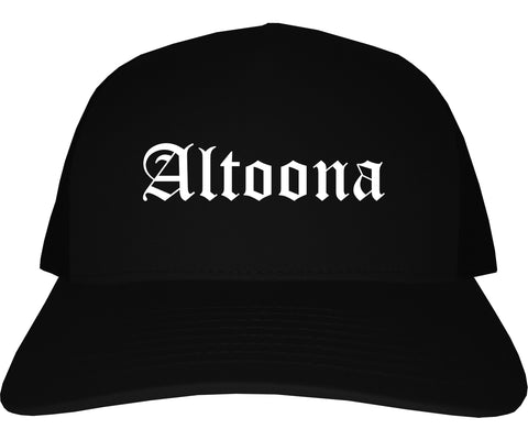 Altoona Wisconsin WI Old English Mens Trucker Hat Cap Black