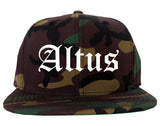 Altus Oklahoma OK Old English Mens Snapback Hat Army Camo