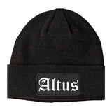 Altus Oklahoma OK Old English Mens Knit Beanie Hat Cap Black
