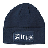 Altus Oklahoma OK Old English Mens Knit Beanie Hat Cap Navy Blue