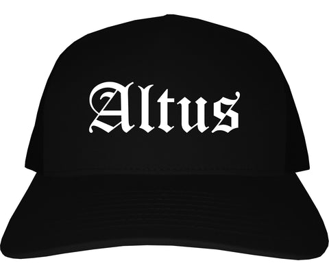 Altus Oklahoma OK Old English Mens Trucker Hat Cap Black