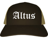 Altus Oklahoma OK Old English Mens Trucker Hat Cap Brown