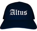 Altus Oklahoma OK Old English Mens Trucker Hat Cap Navy Blue
