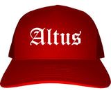 Altus Oklahoma OK Old English Mens Trucker Hat Cap Red