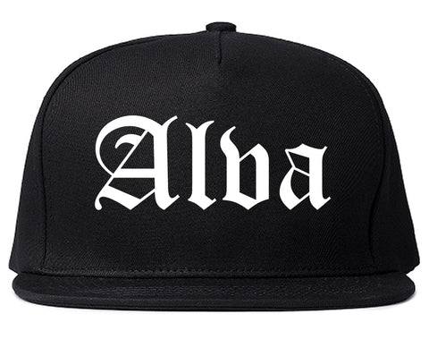 Alva Oklahoma OK Old English Mens Snapback Hat Black