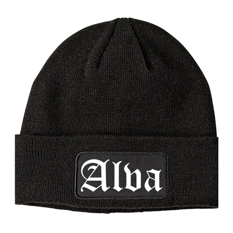 Alva Oklahoma OK Old English Mens Knit Beanie Hat Cap Black