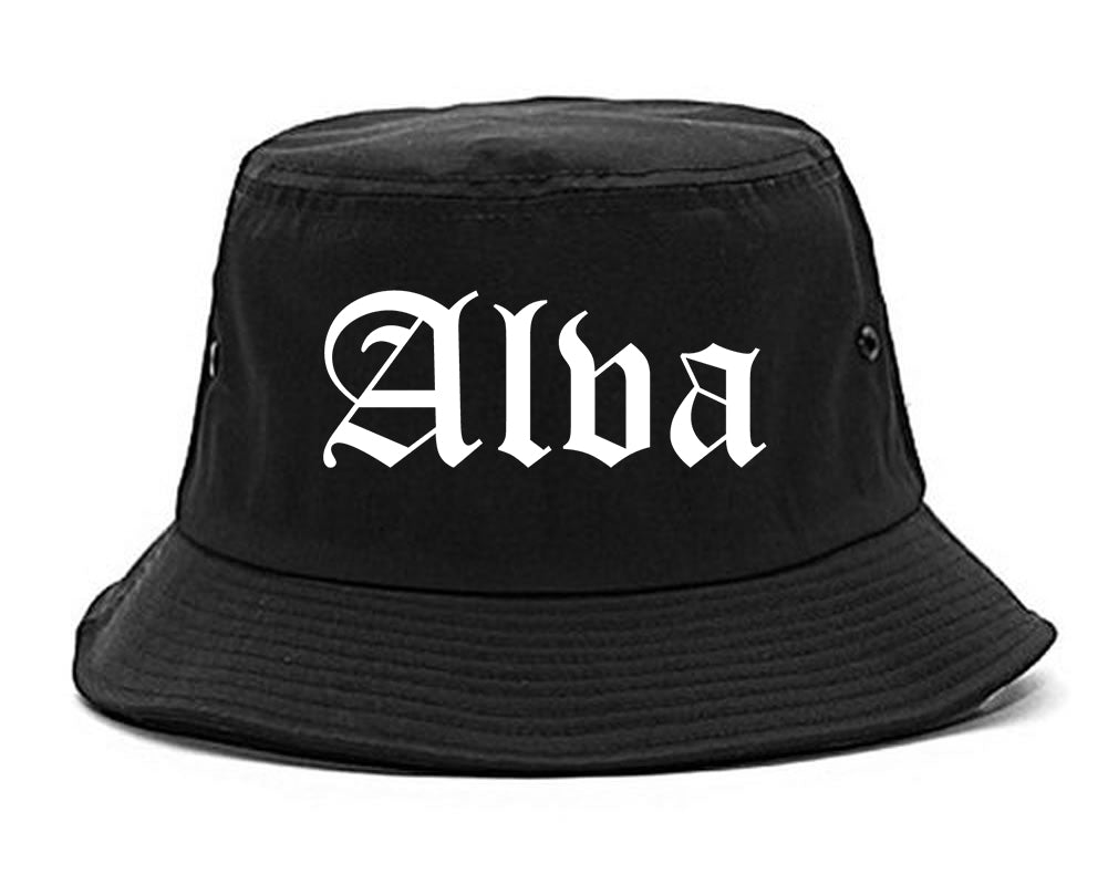 Alva Oklahoma OK Old English Mens Bucket Hat Black