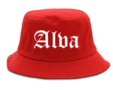 Alva Oklahoma OK Old English Mens Bucket Hat Red