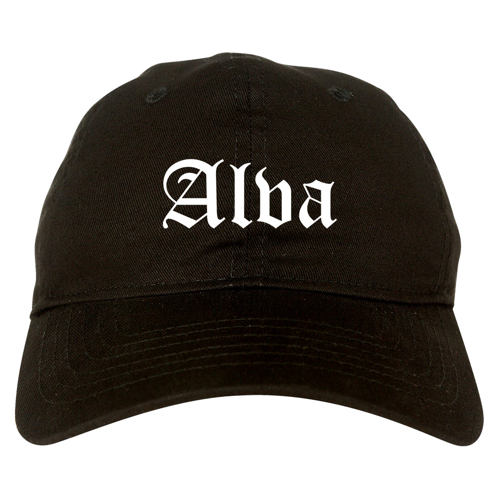 Alva Oklahoma OK Old English Mens Dad Hat Baseball Cap Black