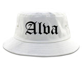 Alva Oklahoma OK Old English Mens Bucket Hat White