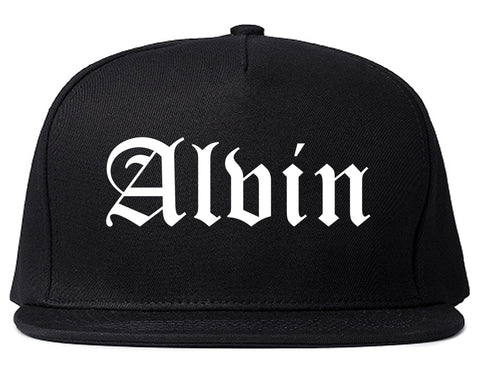 Alvin Texas TX Old English Mens Snapback Hat Black