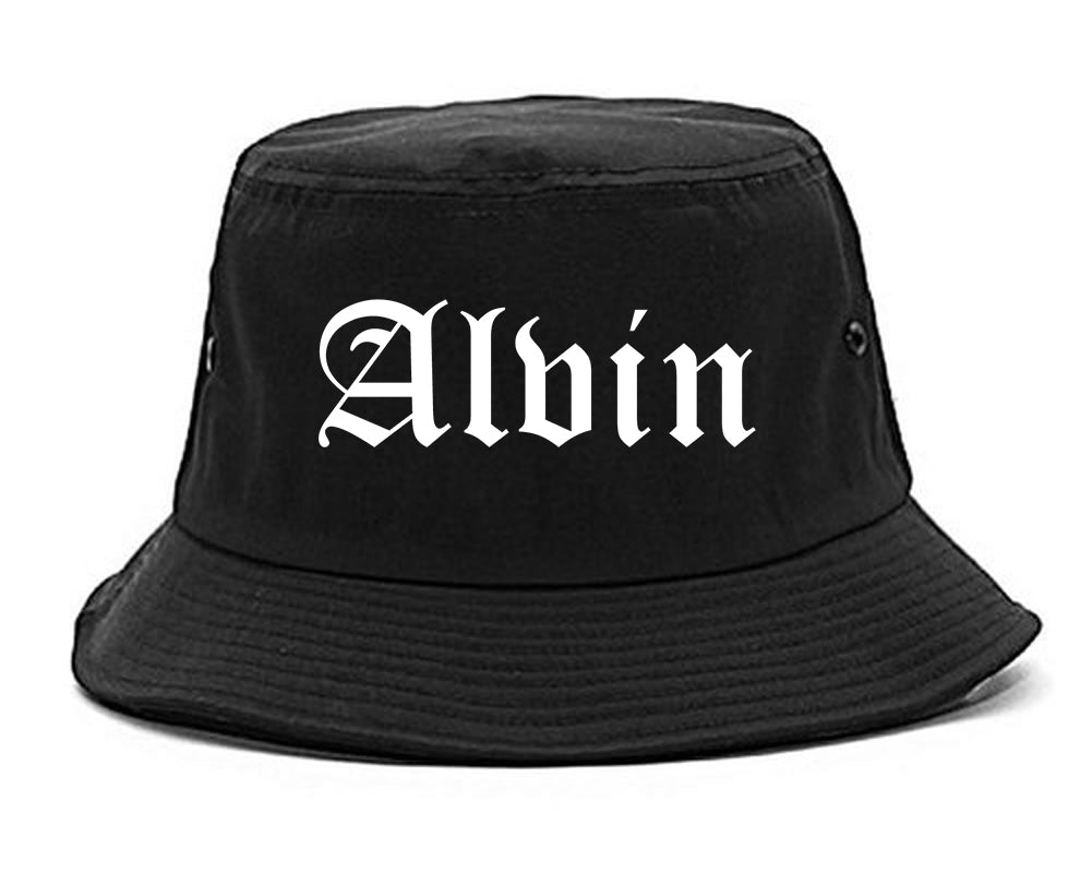 Alvin Texas TX Old English Mens Bucket Hat Black