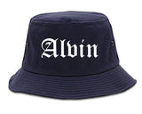 Alvin Texas TX Old English Mens Bucket Hat Navy Blue