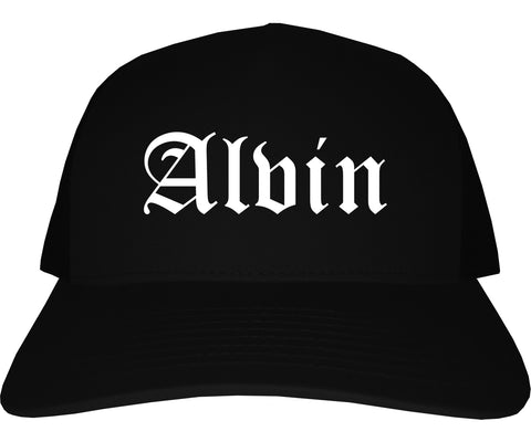 Alvin Texas TX Old English Mens Trucker Hat Cap Black