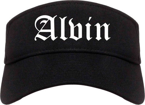 Alvin Texas TX Old English Mens Visor Cap Hat Black
