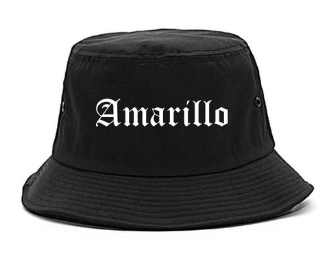 Amarillo Texas TX Old English Mens Bucket Hat Black