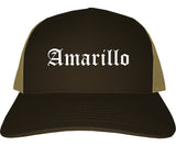 Amarillo Texas TX Old English Mens Trucker Hat Cap Brown