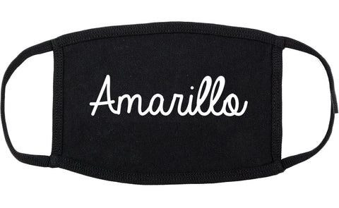 Amarillo Texas TX Script Cotton Face Mask Black