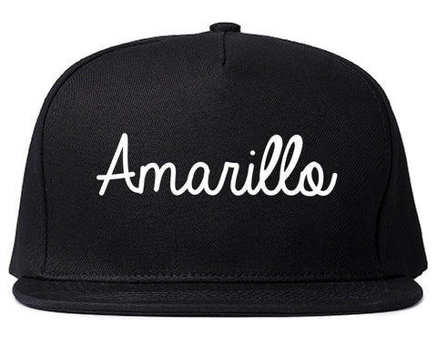 Amarillo Texas TX Script Mens Snapback Hat Black