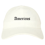 Americus Georgia GA Old English Mens Dad Hat Baseball Cap White