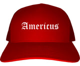 Americus Georgia GA Old English Mens Trucker Hat Cap Red
