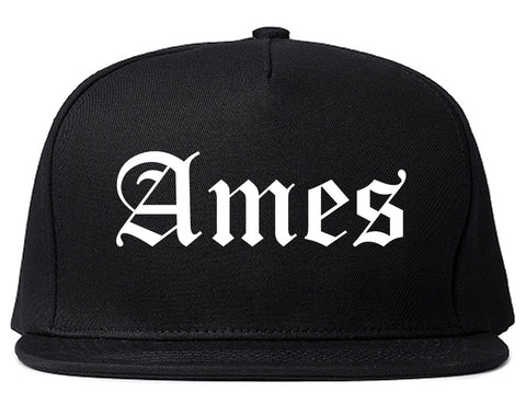 Ames Iowa IA Old English Mens Snapback Hat Black