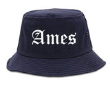 Ames Iowa IA Old English Mens Bucket Hat Navy Blue