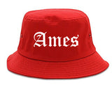 Ames Iowa IA Old English Mens Bucket Hat Red
