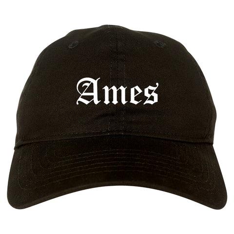 Ames Iowa IA Old English Mens Dad Hat Baseball Cap Black